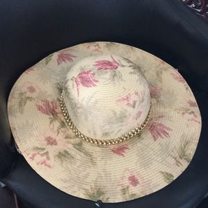 New Paper Crushable Soft Floral Cream & Blush Hat